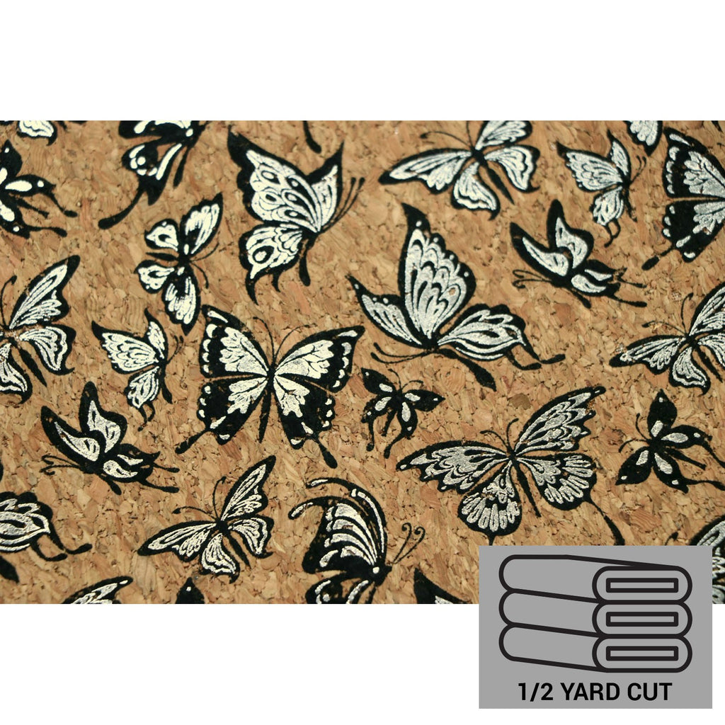 Cork Fabric - Metallic Silver Butterflies - 1/2 Yard by Sallie Tomato