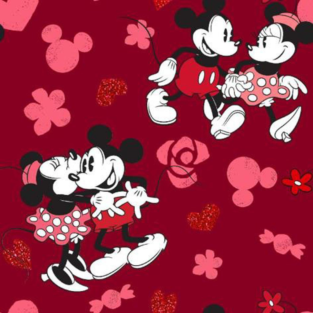 Mickey & Minnie Love with Red Metallic - Springs Creative Cotton Fabric