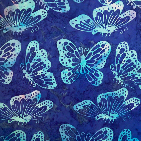 Oscar Multi Blue Butterflies - Sagebrush - Batik by Mirah Cotton Fabric
