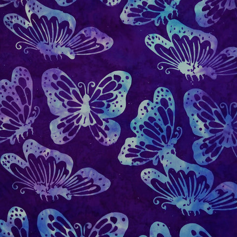 Vivian Violet Butterflies - Sagebrush - Batik by Mirah Cotton Fabric