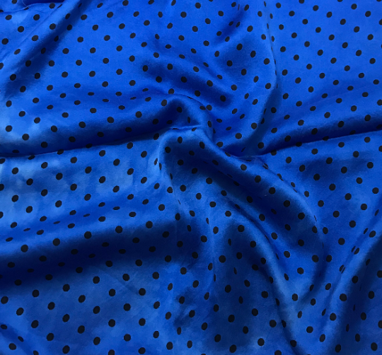 Sapphire Blue & Black Polka Dots - Hand Dyed Silk Charmeuse Fabric