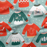 Scandinavian Christmas Pullovers Blue - Paintbrush Studio Cotton Fabrics