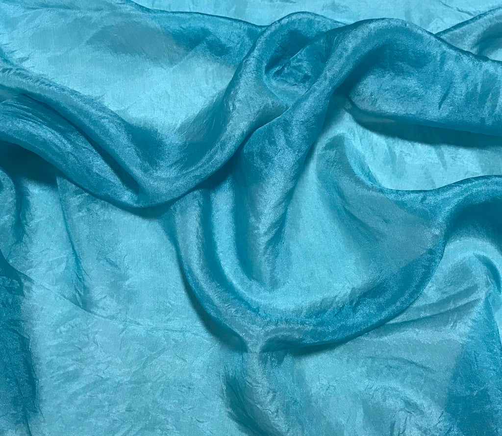 Teal Blue - Hand Dyed Silk Habotai