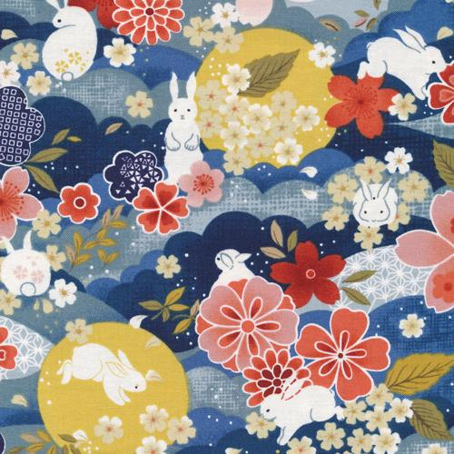 The Moon Rabbit - Japanese Floral Navy - Paintbrush Studio Cotton Fabrics