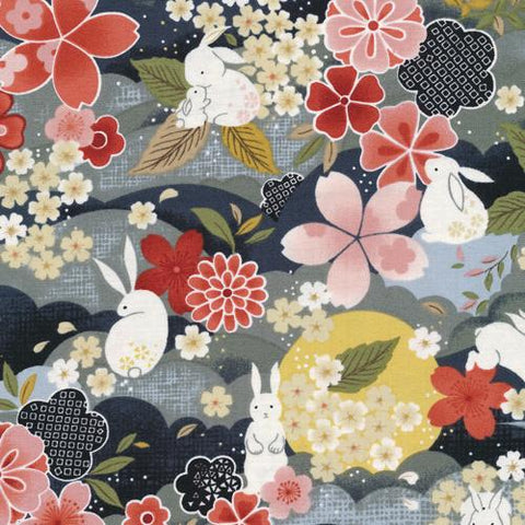 The Moon Rabbit Japanese Floral Night - Paintbrush Studio Cotton Fabrics
