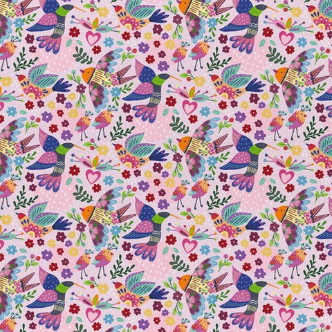 Viva Mexico! Birds Pink- Paintbrush Studio Cotton Fabrics