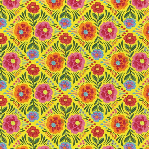 Viva Mexico! Floral Yellow- Paintbrush Studio Cotton Fabrics