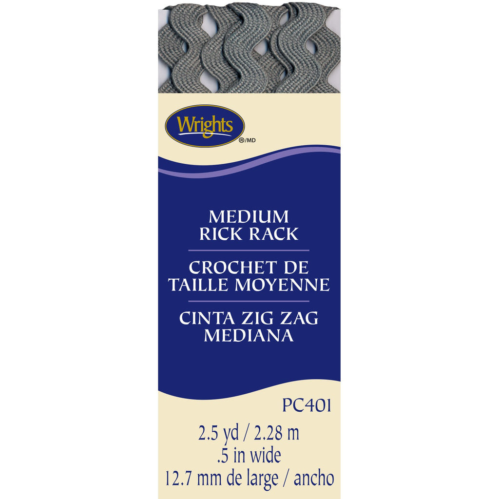 Wrights Medium Rick Rack, Light Gray 2.5 Yards x .5""