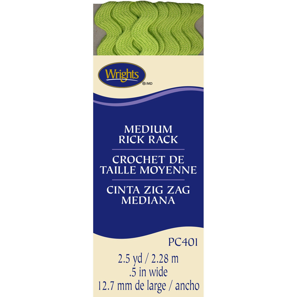 Wrights Medium Rick Rack, Lime Green 2.5 Yards x .5""