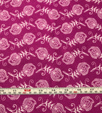 Mixed Medley - Contempo Feathers White on Fuchsia - Cotton Quilting Fabric