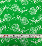 Mixed Medley - Contempo Feathers White on Green - Cotton Quilting Fabric