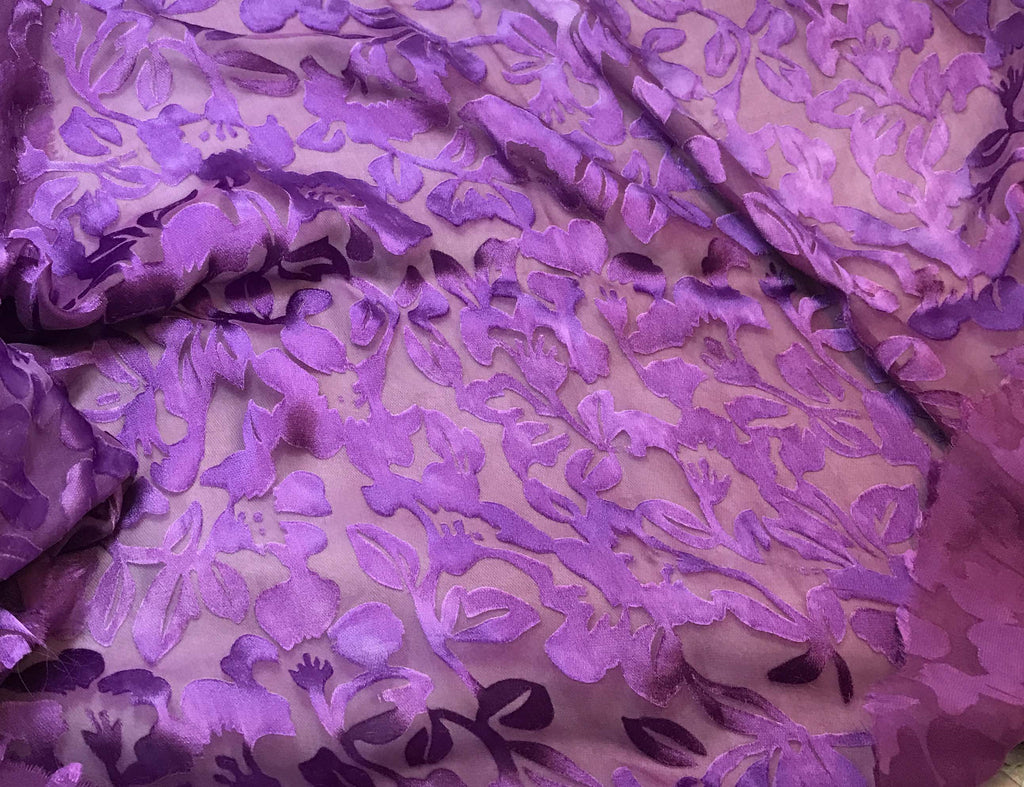 Amethyst Purple Floral - Hand Dyed Burnout Devore Silk Satin