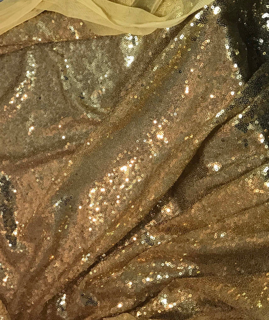 Antique Gold - Sequin Spangle Sewn on Mesh Fabric