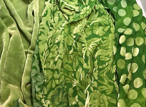 "Apple Green Sample Set - Hand Dyed Silk Velvet - 9""x22"" Each"