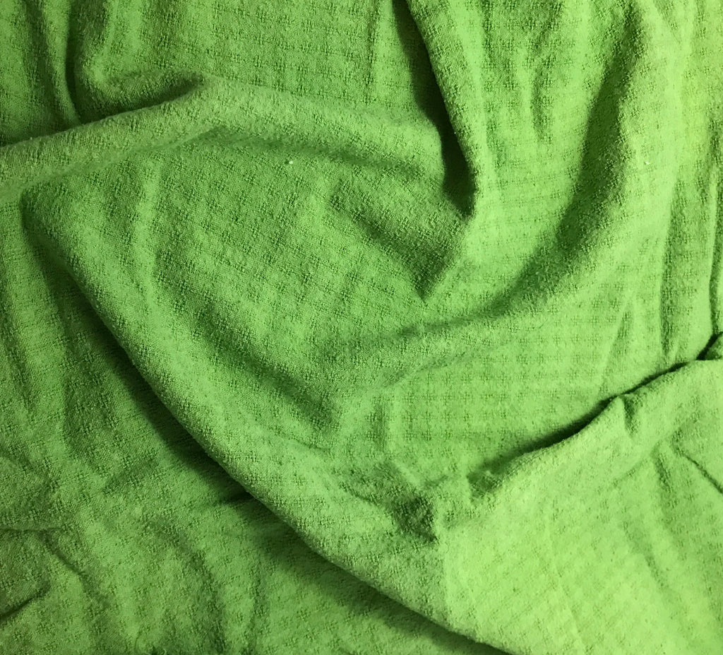 Apple Green - Hand Dyed Checkered Weave Silk Noil