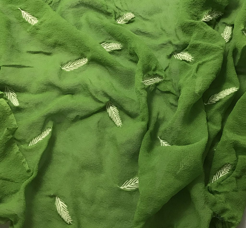 Apple Green - Hand Dyed Embroidered Leaves Silk Chiffon