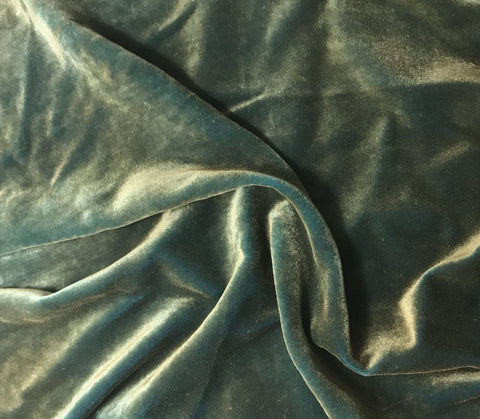 Antique Gold on Aqua - Hand Painted Silk Velvet Fabric