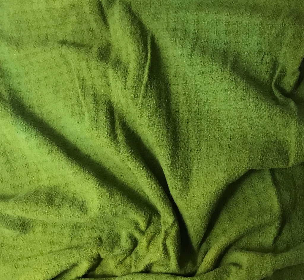 Avocado Green - Hand Dyed Checkered Weave Silk Noil
