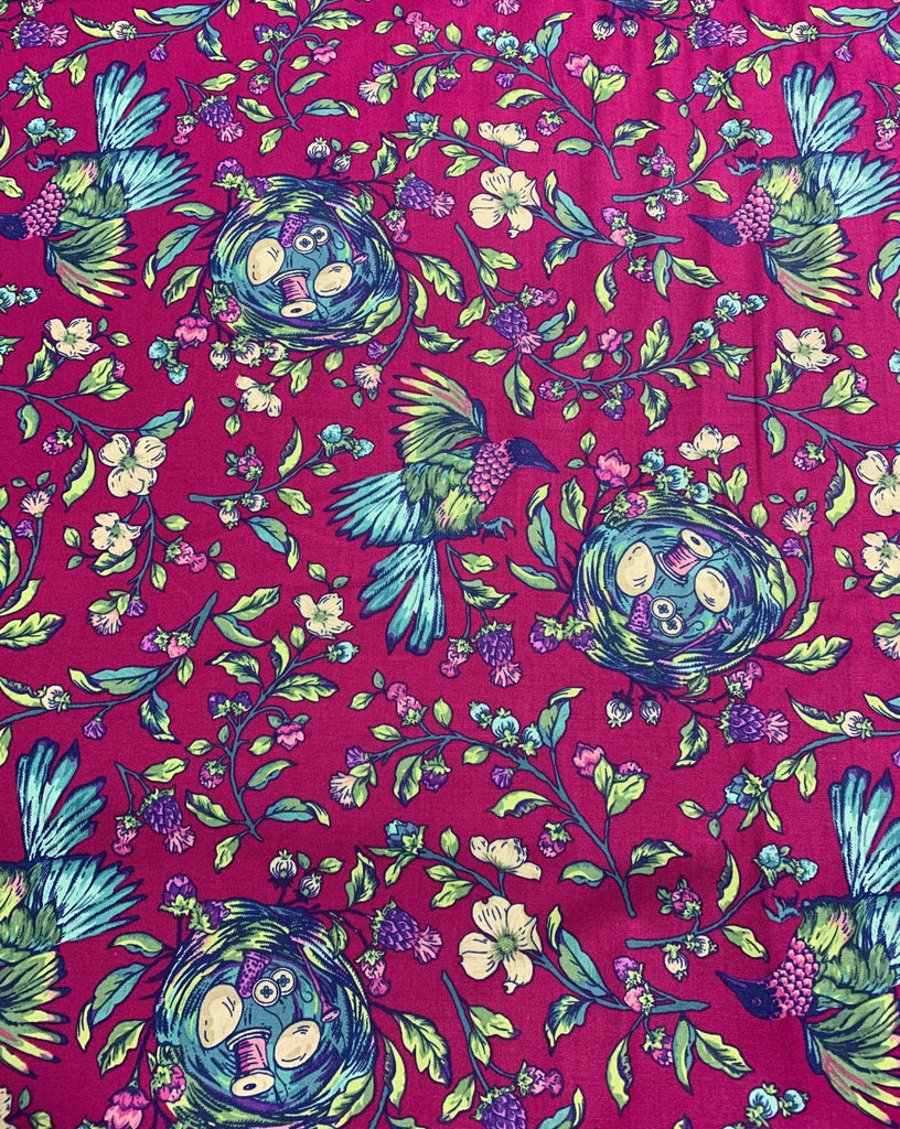 Songstress Fuchsia Multi - Stag and Thistle - by Brett Lewis for Northcott Cotton Fabric