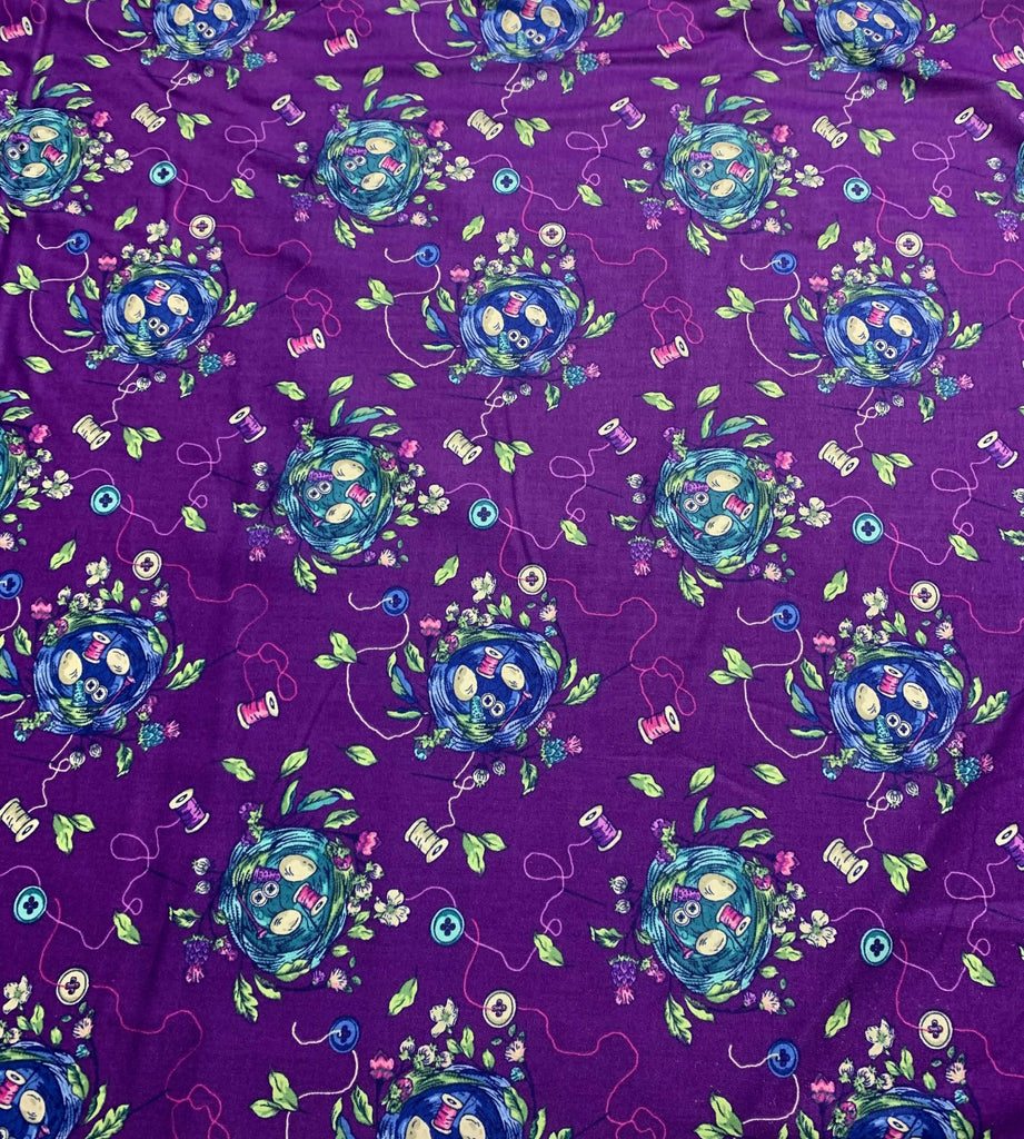 Sew Bountiful Purple Multi - Stag and Thistle - by Brett Lewis for Northcott Cotton Fabric