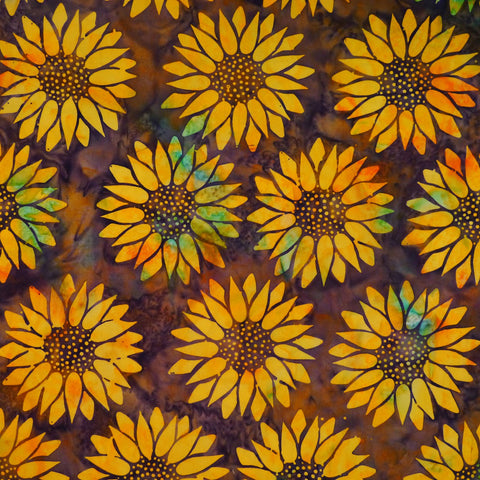 Bistre Yellow Sunflower Floral - Batik by Mirah Cotton Fabric