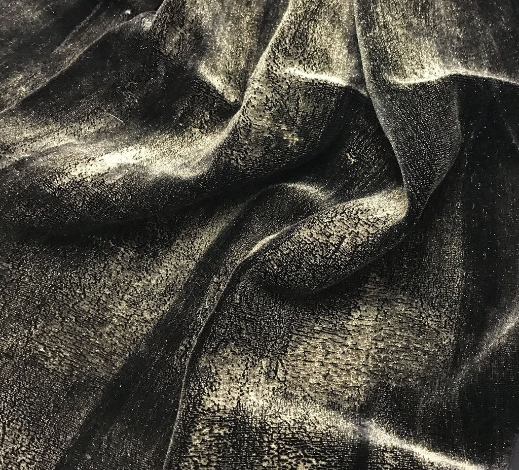 Antique Gold on Black - Hand Painted Silk Velvet Fabric