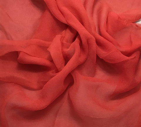Blood Orange - 3mm Hand Dyed Silk Gauze Chiffon