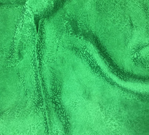 Bright Kelly Green Pebbles - Hand Dyed Silk Jacquard
