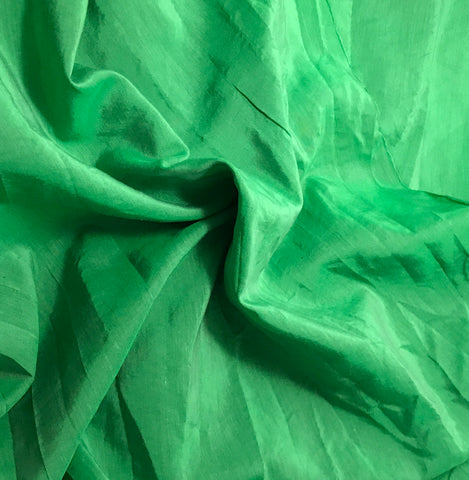 Bright Kelly Green - Hand Dyed Silk/ Cotton Habotai