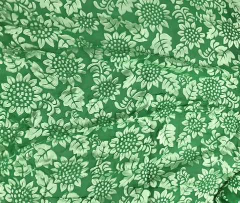 Bright Kelly Green Sunflowers Floral - Hand Dyed Burnout Devore Silk Satin