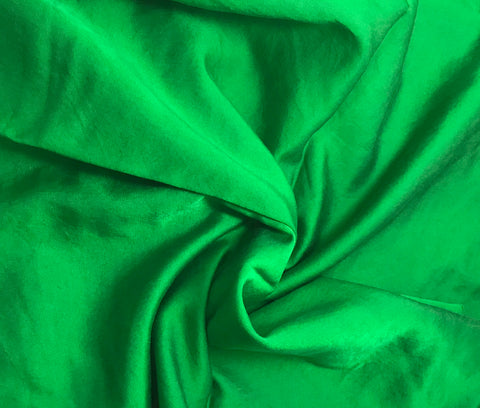 Bright Kelly Green - Hand Dyed Silk/Cotton Satin