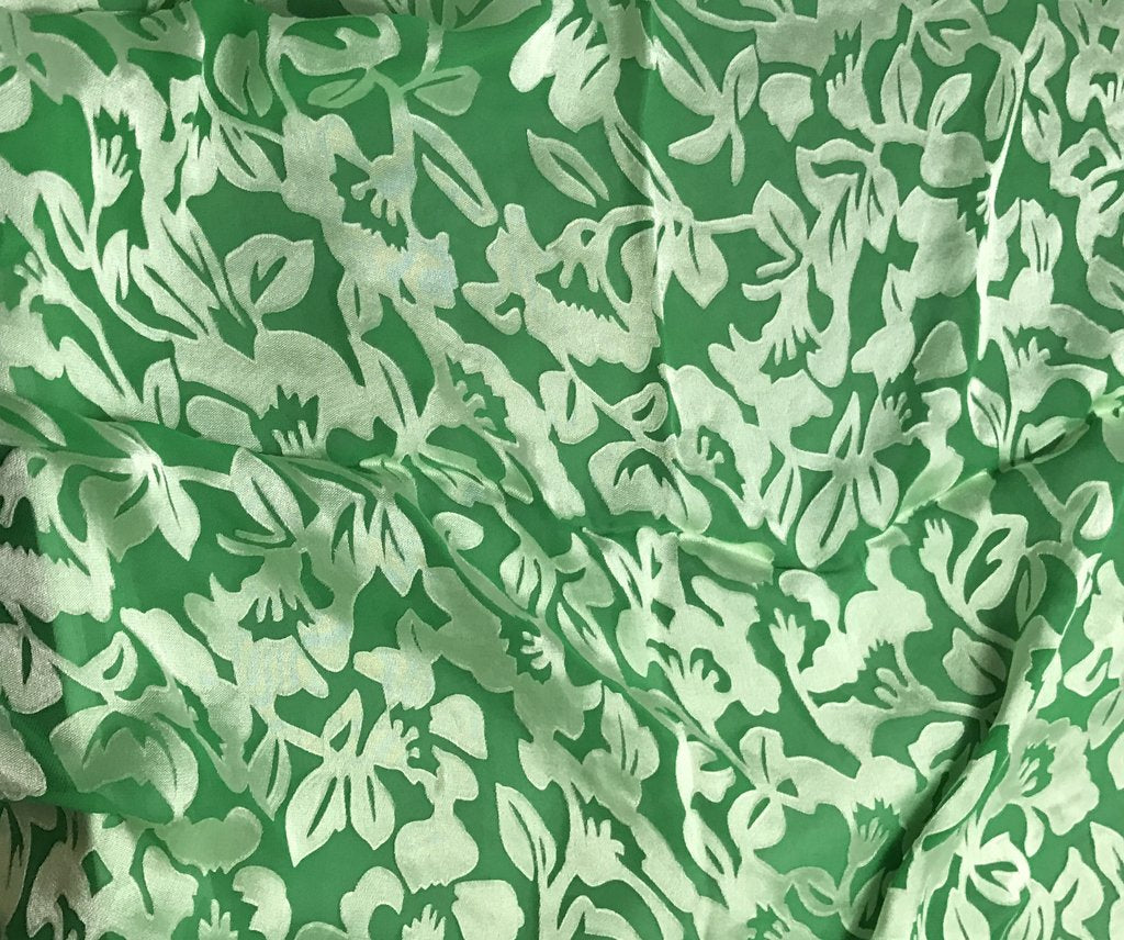Bright Kelly Green Floral - Hand Dyed Burnout Devore Silk Satin
