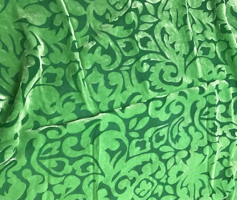 Bright Kelly Green Scroll - Hand Dyed Burnout Silk Velvet