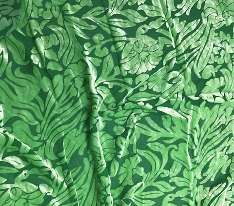 Bright Kelly Green Floral - Hand Dyed Burnout Silk Velvet