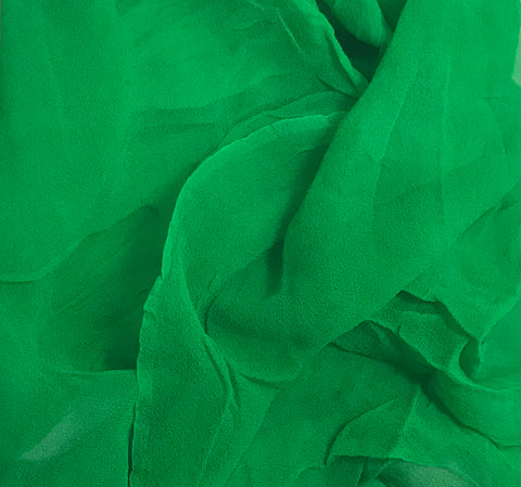 Bright Kelly Green - 3mm Hand Dyed Silk Gauze Chiffon