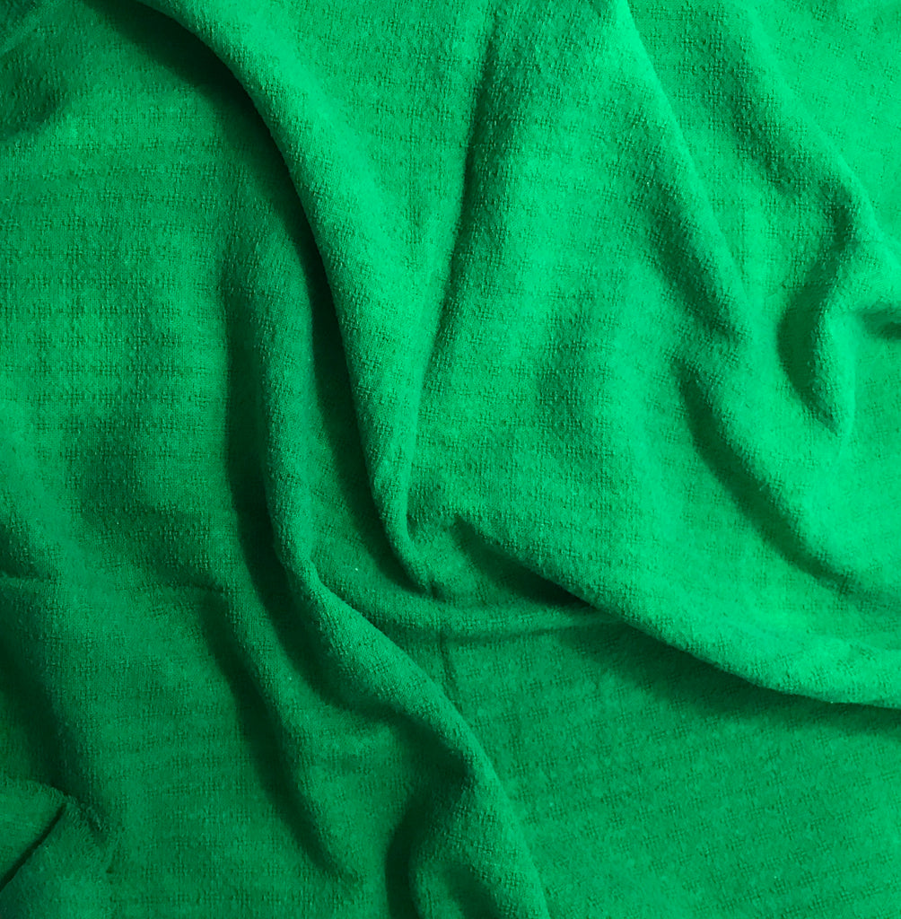 "Bright Kelly Green - Hand Dyed Checkered Weave Silk Noil (54"")"