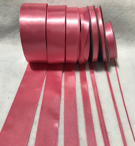 Bubblegum Pink Double Sided Satin Ribbon - Made in France (7 Widths to choose from)