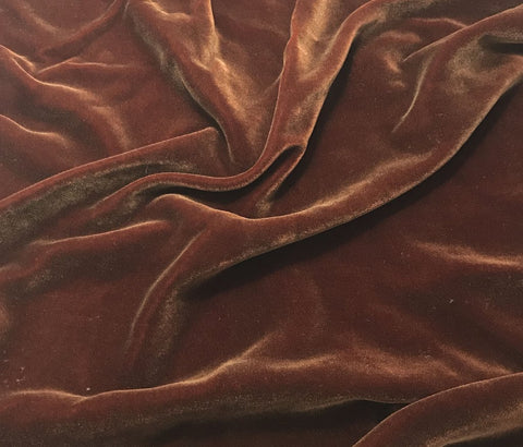 Antique Gold on Burnt Orange - Hand Painted Silk Velvet Fabric