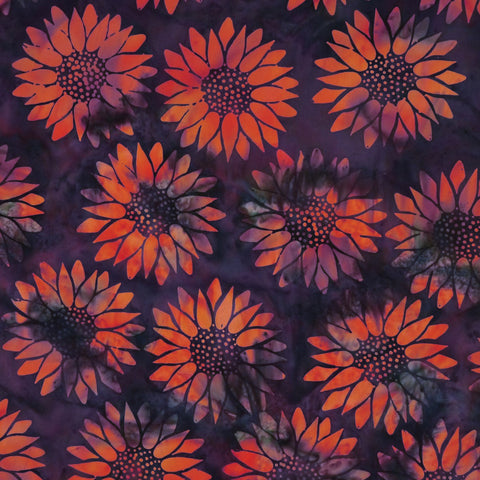Daisy Flower Orange Buxar Orchard - Batik by Mirah Cotton Fabric