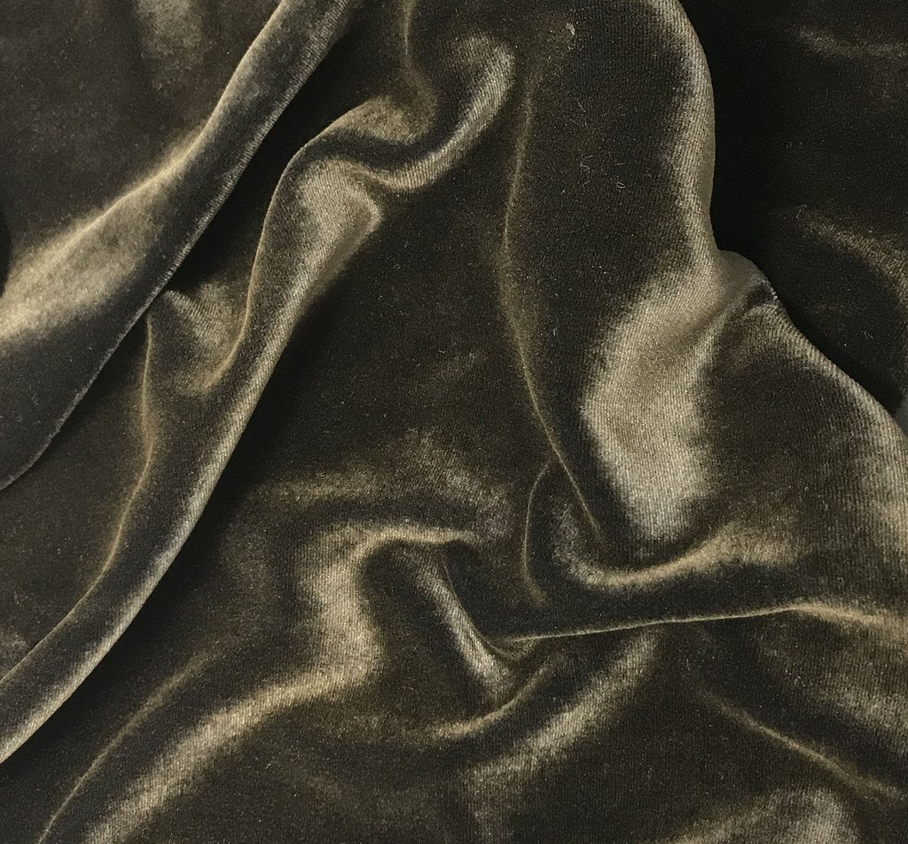 Antique Gold on Charcoal Gray - Hand Painted Silk Velvet Fabric