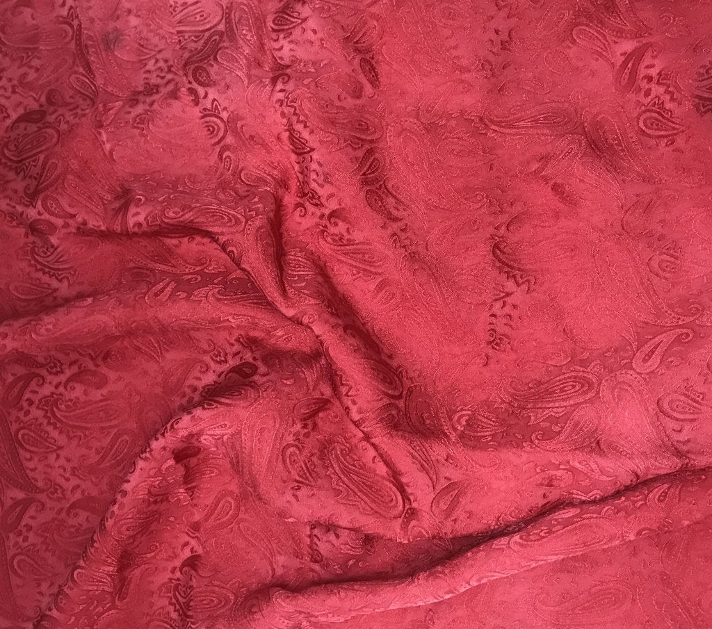 Cherry Red Paisley - Hand Dyed Silk Jacquard