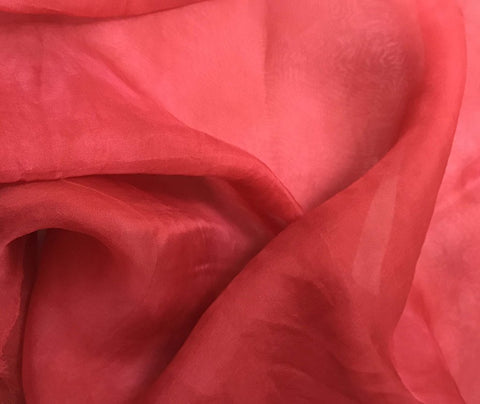 Cherry Red - Hand Dyed Silk Organza