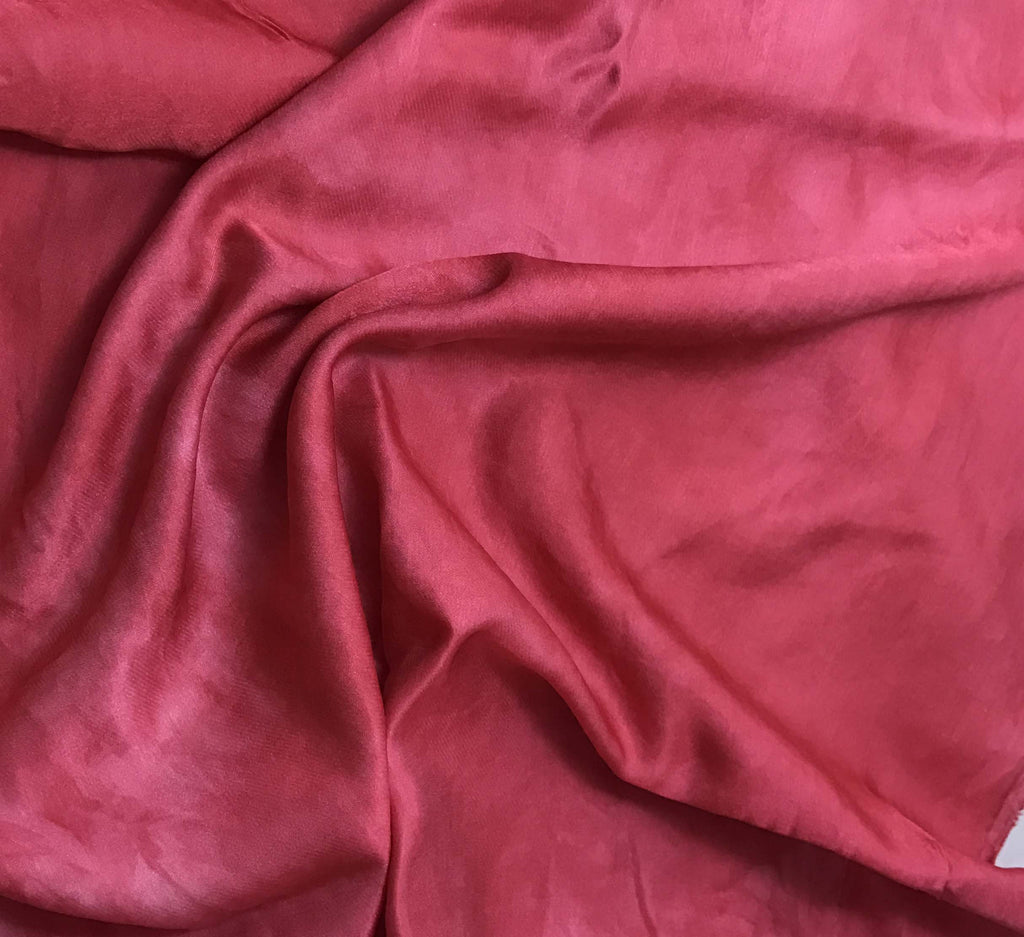 Hand Dyed Cherry Red - Silk/Cotton Sateen (1/3 Yard)