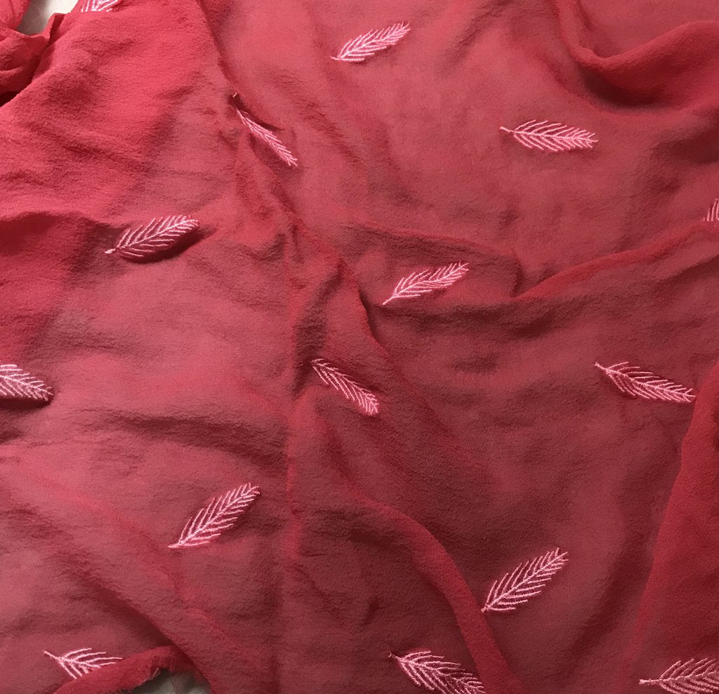 Cherry Red - Hand Dyed Embroidered Leaves Silk Chiffon