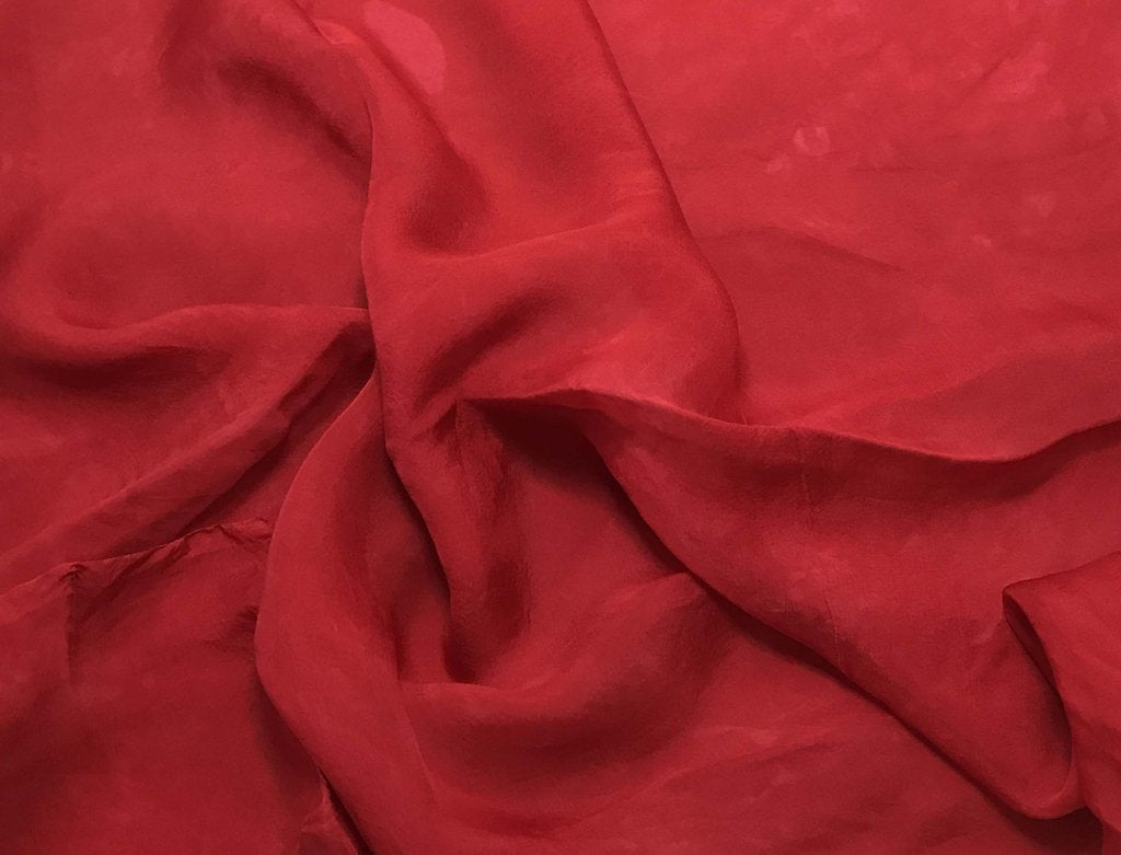 Cherry Red - Hand Dyed Soft Silk Organza