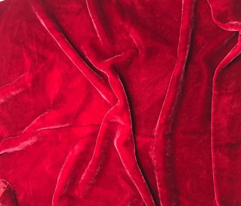 Cherry Red - Hand Dyed Silk Velvet