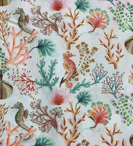 Coral & Seahorses on White - Sea Botanica - by Sarah Gordon for Figo Fabrics 100% Cotton Fabric