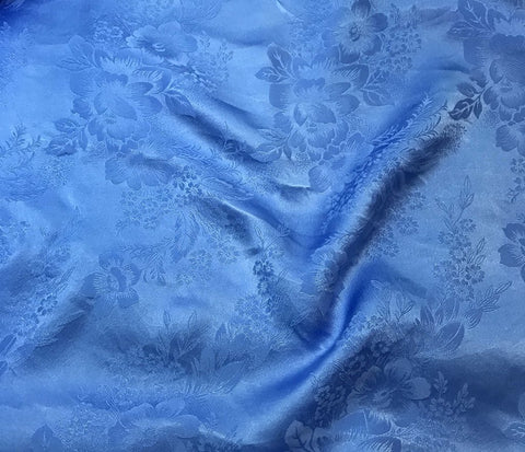 Cornflower Blue Floral - Hand Dyed Silk Jacquard