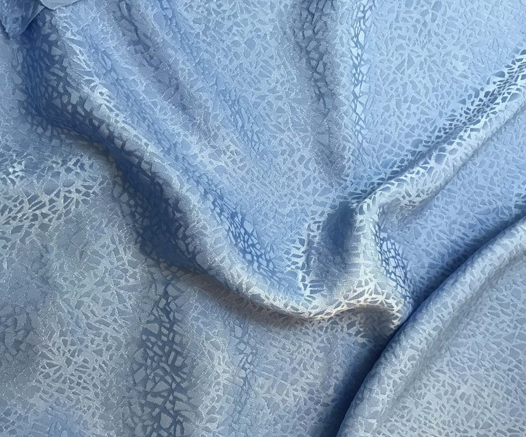 Cornflower Blue Pebbles - Hand Dyed Silk Jacquard