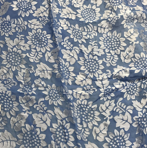 Cornflower Blue Sunflowers Floral - Hand Dyed Burnout Devore Silk Satin